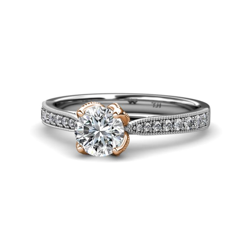 Diamond Two Tone Milgrain Solitaire Plus Womens Engagement Ring 1 16 Ctw 14k White Gold Trijewels