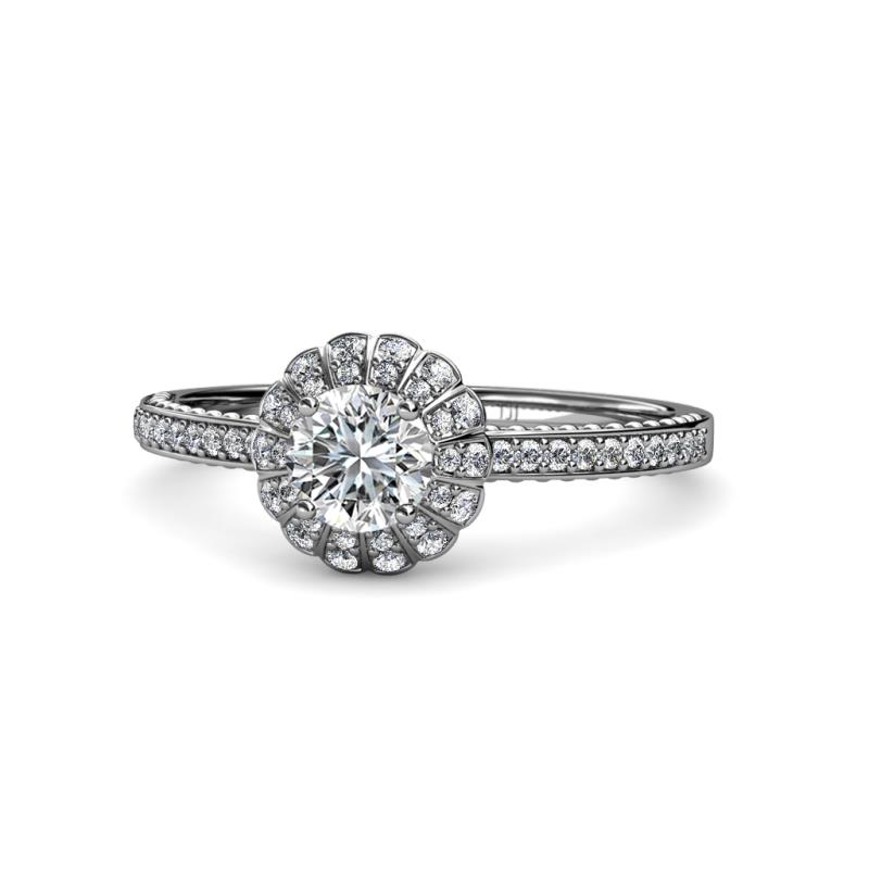 Jolie Signature Floral Halo Engagement Ring - Diamond Floral Halo Engagement Ring 0.92 cttw in 14K White Gold.