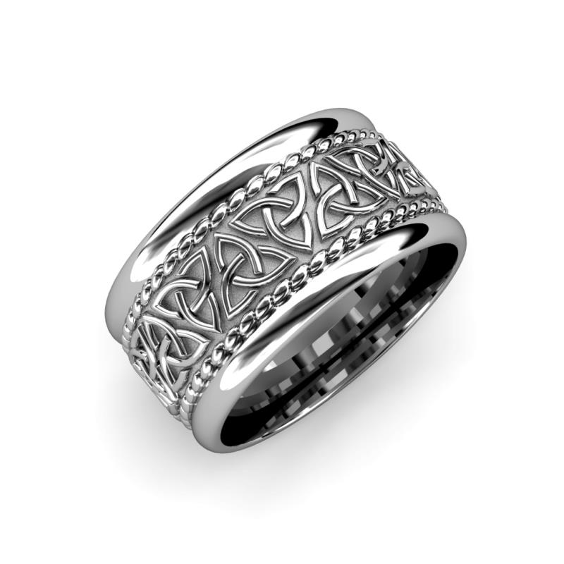 Laney High Polish 10 mm Celtic Trinity Knot Wedding Band - High Polish 10 mm Celtic Trinity Knot Wedding Band in 14K White Gold.