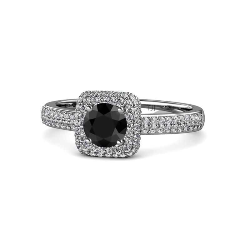 1 3 4 Ctw Round Black And White Diamond Womens Halo Engagement Ring 14k White Gold Trijewels