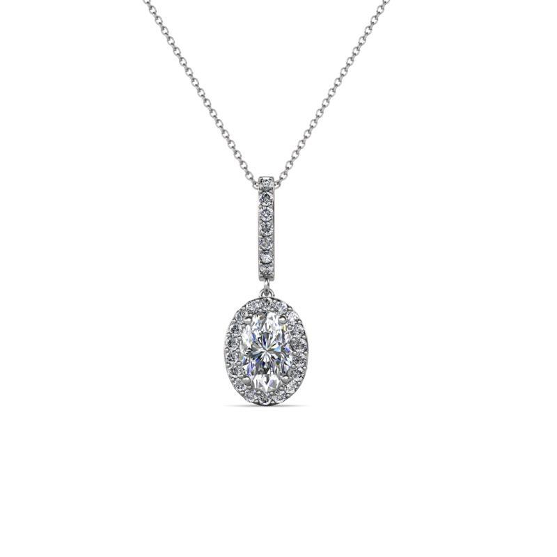 Glenn Petite Diamond Halo Pendant - Petite Oval Diamond Halo Pendant (SI2-I1, G-H) 0.65 Carat tw in 14K White Gold.Included 18 Inches 14K White Gold Chain.