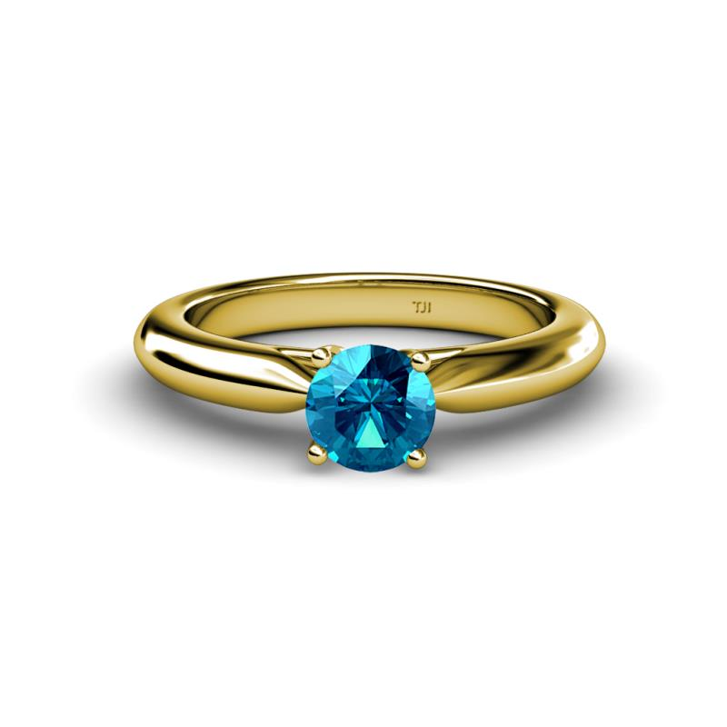 Akila Blue Diamond Solitaire Ring - Round Blue Diamond Women Solitaire Ring 14K Yellow Gold.