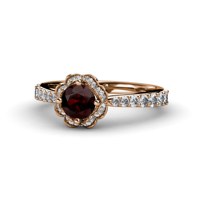 Red Garnet And Diamond Floral Womens Halo Engagement Ring 1 43 Ctw 14k Rose Gold Trijewels