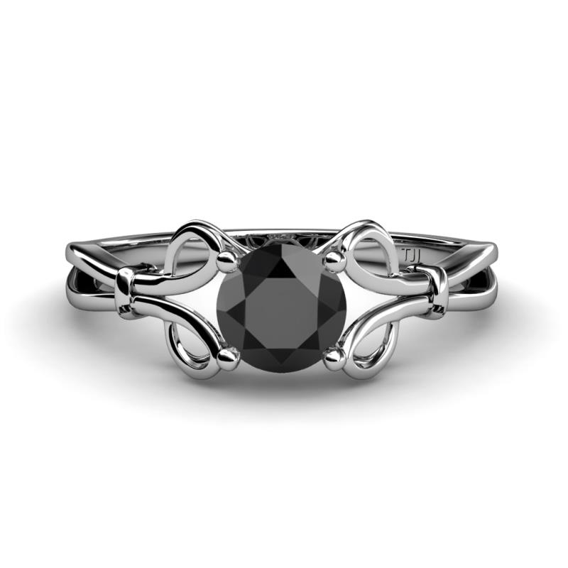 Trissie Black Diamond Floral Solitaire Engagement Ring - Black Diamond Floral Womens Solitaire Engagement Ring 1.00 ct 14K White Gold