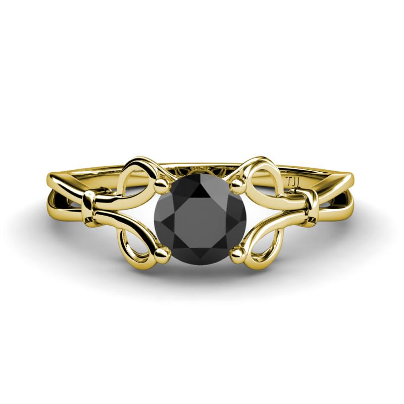 Trissie Black Diamond Floral Solitaire Engagement Ring - Black Diamond Floral Womens Solitaire Engagement Ring 1.00 ct 14K Yellow Gold