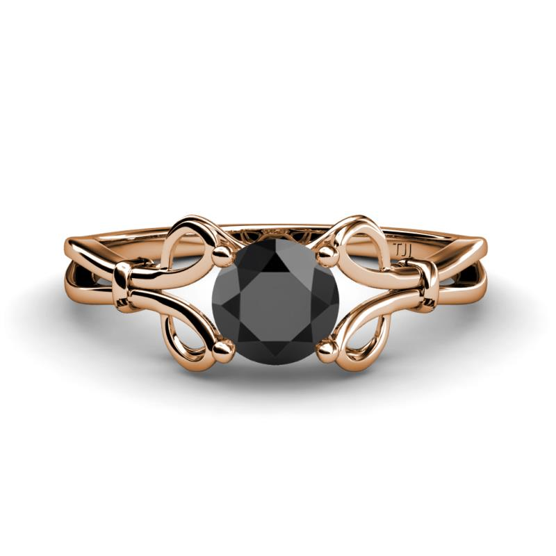 Trissie Black Diamond Floral Solitaire Engagement Ring - Black Diamond Floral Womens Solitaire Engagement Ring 1.00 ct 14K Rose Gold