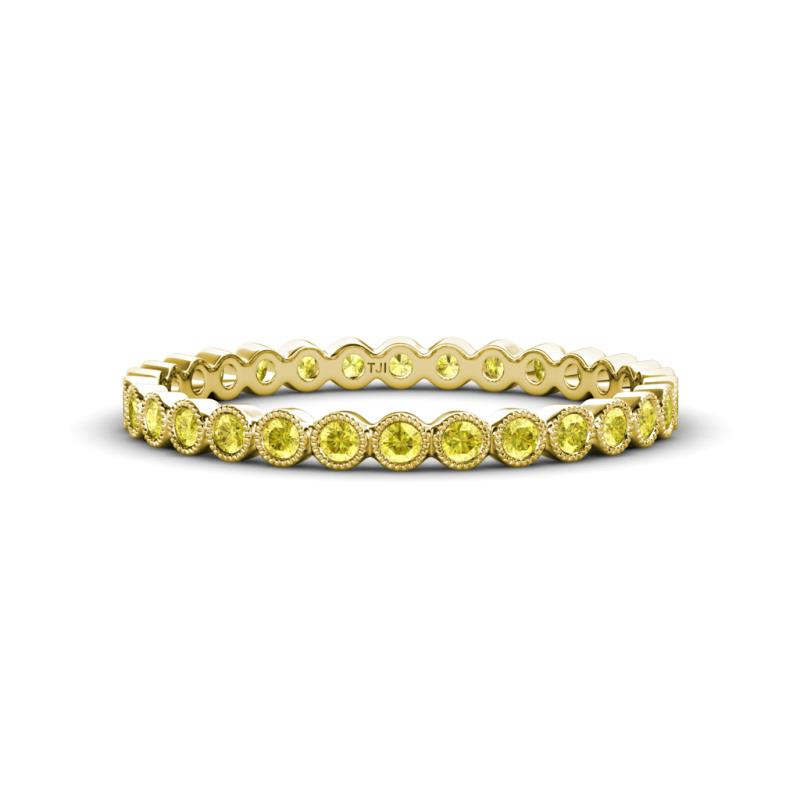 Arria 2.00 mm Yellow Sapphire Eternity Band - Yellow Sapphire Bezel Set Milgrain Womens Eternity Ring Stackable 0.57 ctw* 18K Yellow Gold