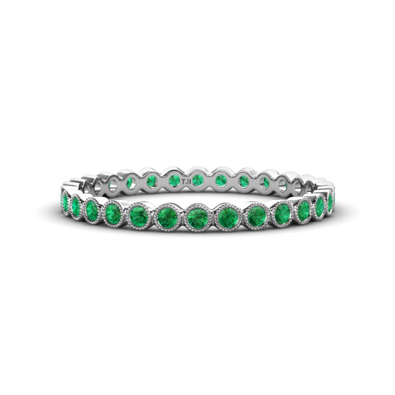 Arria 2.00 mm Emerald Eternity Band - Emerald Bezel Set Milgrain Womens Eternity Ring Stackable 0.4 ctw* Platinum