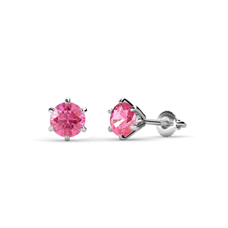 Kenna Pink Tourmaline (5mm) Martini Solitaire Stud Earrings - Pink Tourmaline Six Prong Martini Solitaire Womens Stud Earrings 0.80 ctw 14K White Gold