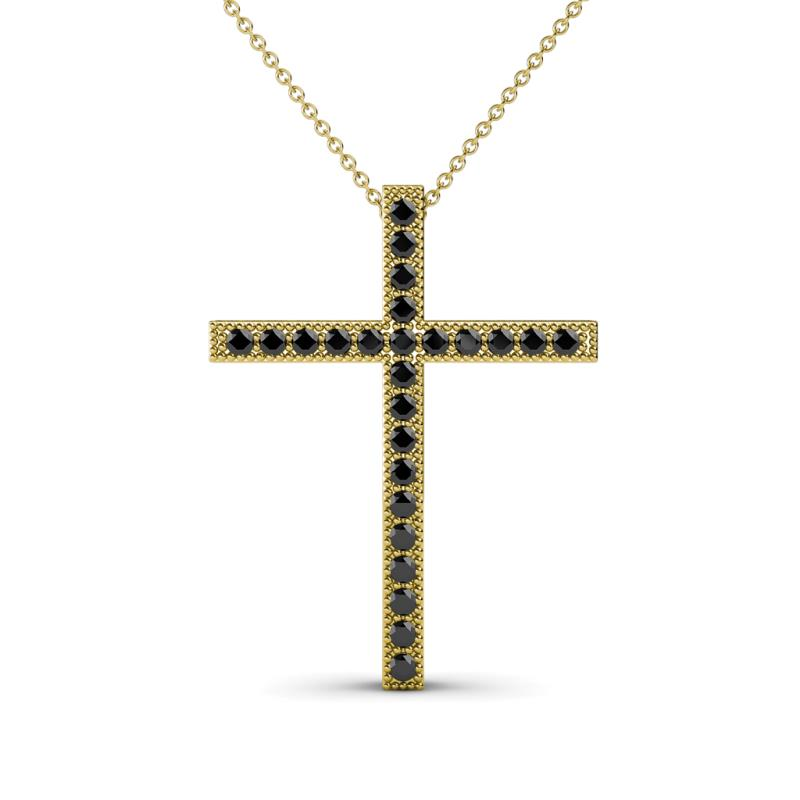 Petite Black Diamond Milgrain Work Womens Cross Pendant Necklace 0 26 Ctw 14k Yellow Gold Included 18 Inches 14k Yellow Gold Chain Trijewels