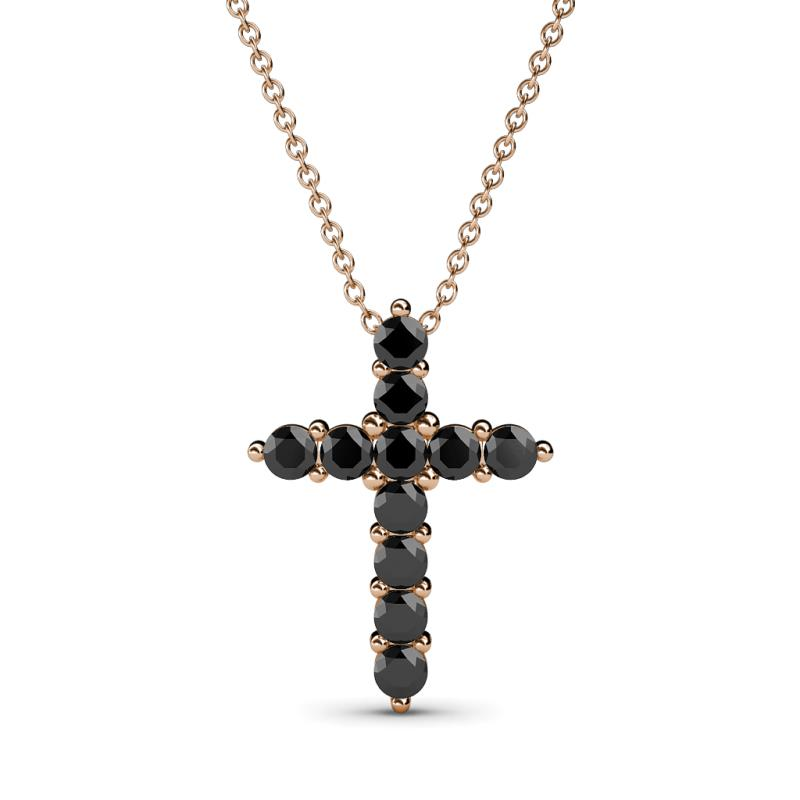 Black Diamond Womens Cross Pendant Necklace 0 58 Ctw 14k Rose Gold Included 18 Inches 14k Rose Gold Chain Trijewels