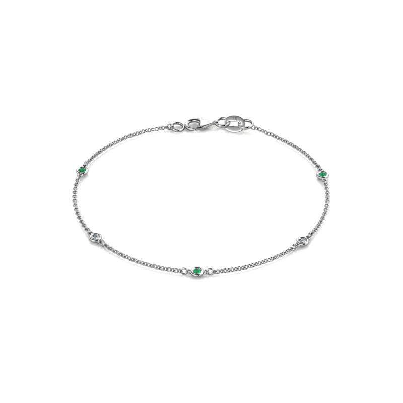 Aizza (5 Stn/2mm) Emerald and Diamond Station Bracelet - 5 Stone Petite Emerald and Diamond Womens Station Bracelet 0.13 ctw 14K White Gold