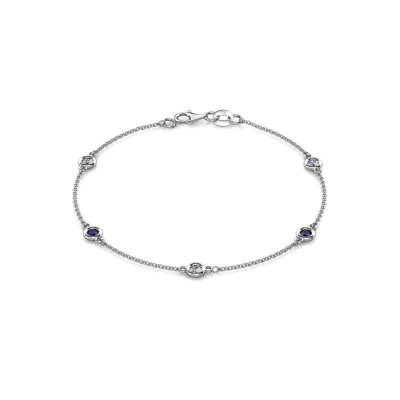 Aizza (5 Stn/3mm) Petite Blue Sapphire and Diamond on Cable Bracelet - 5 Station Petite Blue Sapphire and Diamond (SI2-I1, G-H) on Cable Bracelet 0.51 cttw in 14K White Gold.