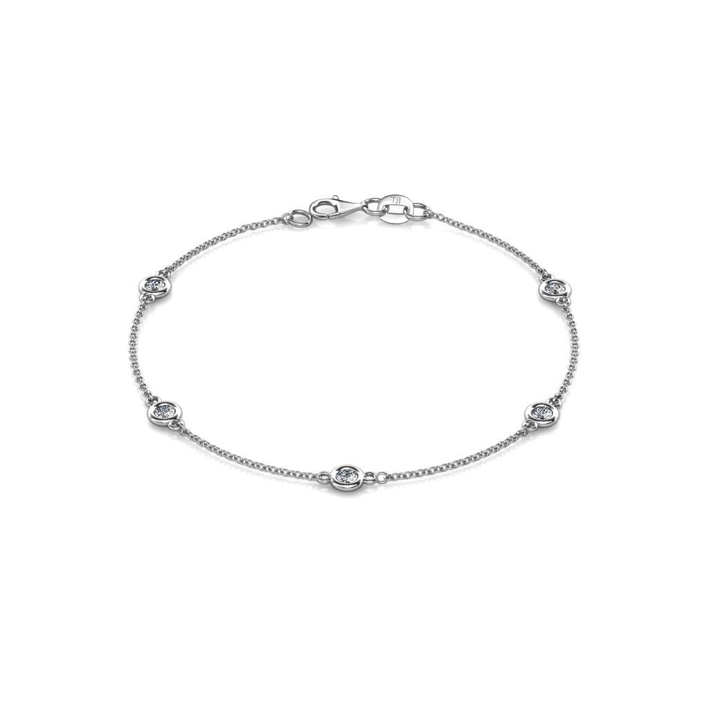 Aizza (5 Stn/3mm) Diamond on Cable Bracelet - 5 Station Petite Diamond on Cable Bracelet (SI2-I1, G-H) 0.50 Carat tw in 14K White Gold.