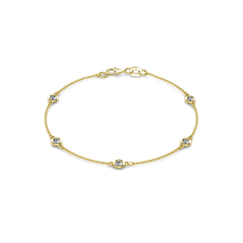 Aizza (5 Stn/3mm) Diamond Station Bracelet - 5 Stone Petite Diamond Womens Station Bracelet 0.50 ctw 14K Yellow Gold