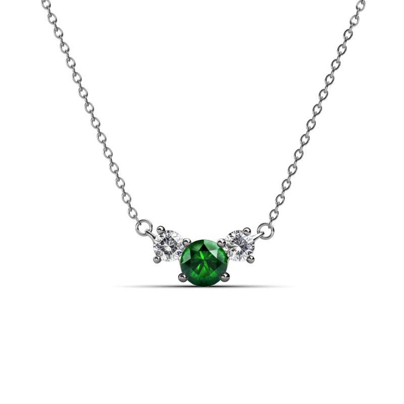 65f74fbaf64cd Emerald and Diamond Three Stone Pendant
