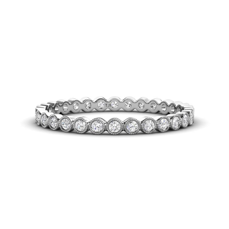 Arria 2.00 mm Diamond Eternity Band - Diamond Bezel Set Milgrain Womens Eternity Ring Stackable 0.54 ctw* 14K White Gold