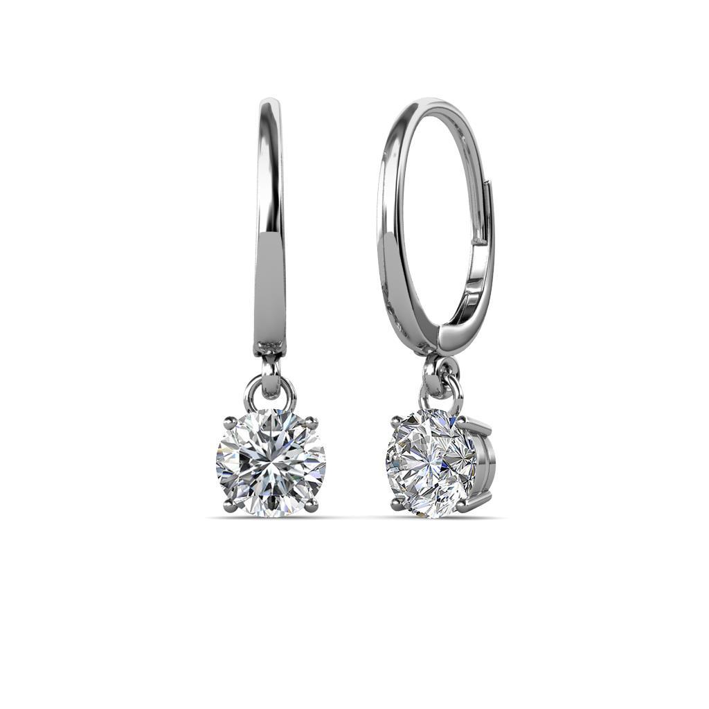 Grania Diamond (5mm) Solitaire Dangling Earrings - Diamond Four Prong Solitaire Dangling Earrings (SI2-I1, G-H) 1.00 Carat tw in 14K White Gold.