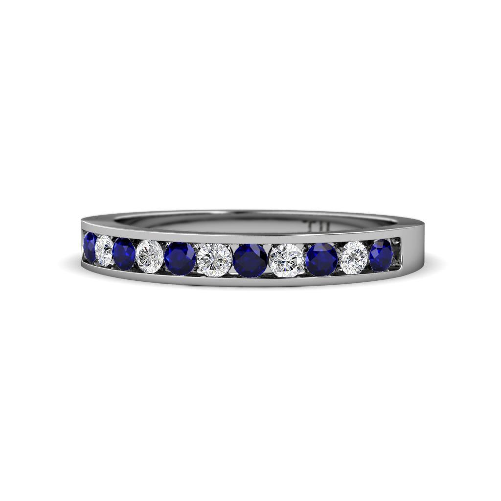 Ryann 2.30 mm Blue Sapphire and Diamond Wedding Band - Blue Sapphire and Diamond 11 Stone Channel Set Wedding Band 0.51 Carat tw in 14K White Gold.