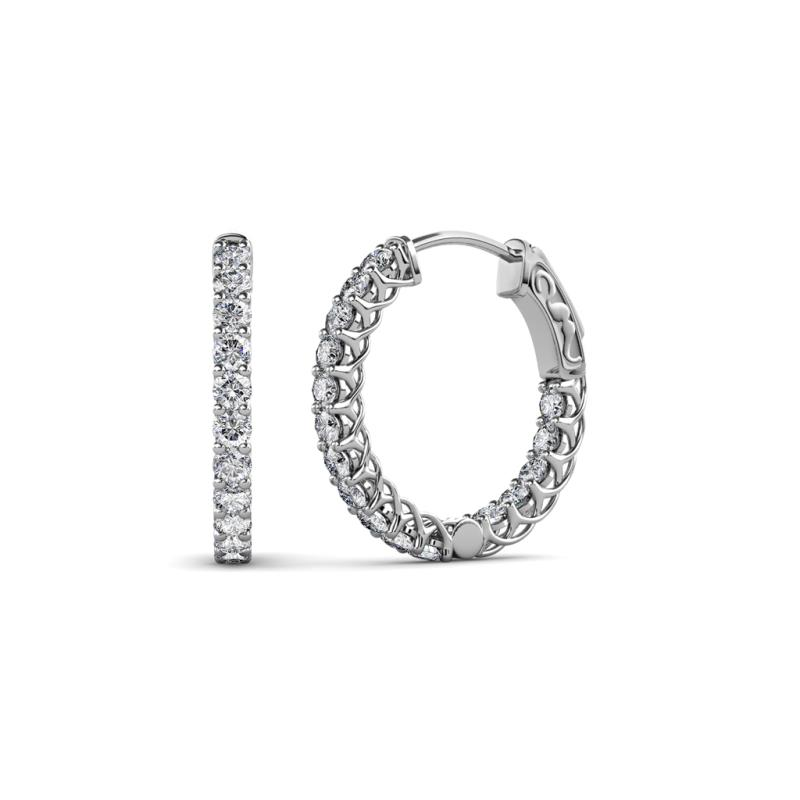 Amara Diamond Hoop Earrings - Diamond (SI2-I1, G-H) Inside-Out Hoop Earrings with Side Gallery Work 0.88 Carat tw in 14K White Gold.
