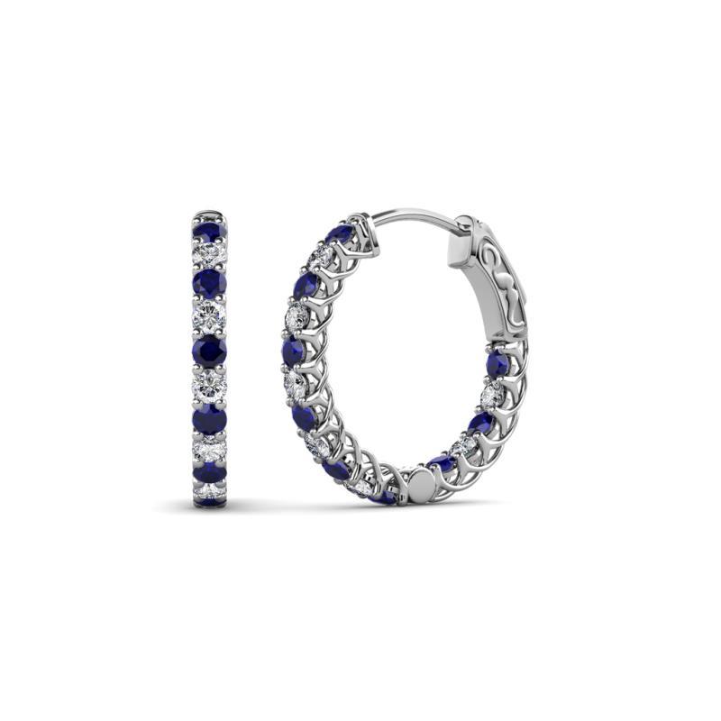 Amara Blue Sapphire and Diamond Hoop Earrings - Blue Sapphire and Diamond (SI2-I1, G-H) Inside-Out Hoop Earrings with Side Gallery Work 0.91 Carat tw in 14K White Gold.
