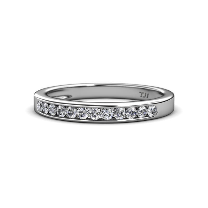 Enya Classic Diamond Wedding Band - Diamond 12 Stone Channel Set Wedding Band (SI2-I1, G-H) 0.36 Carat tw in 14K White Gold.