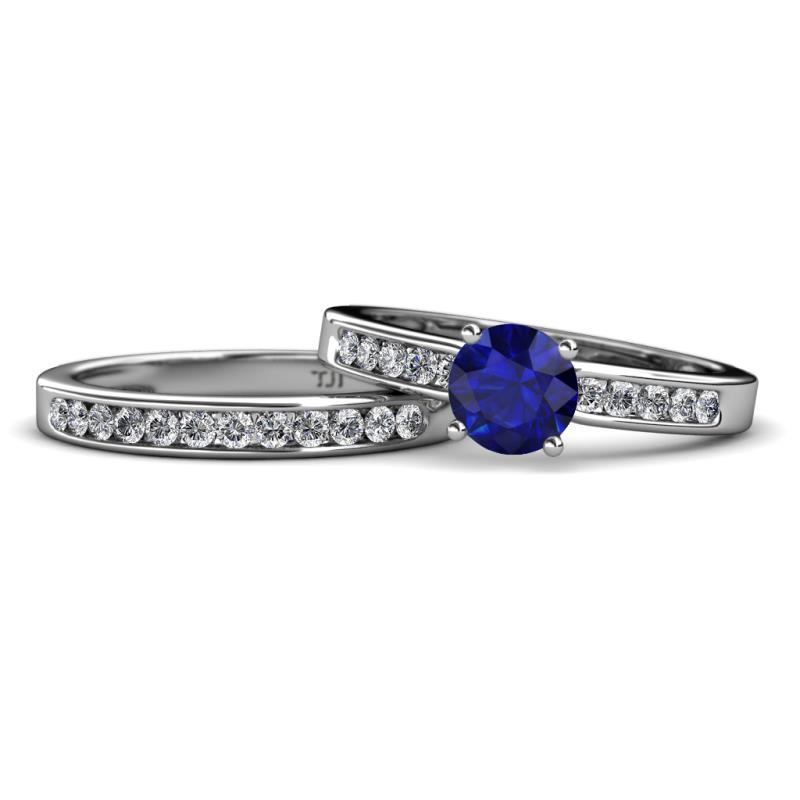Enya Classic Blue Sapphire and Diamond Bridal Set Ring  - Blue Sapphire and Diamond (SI2-I1, G-H) Engagement Ring & Wedding Band 1.61 Carat tw in 14K White Gold.