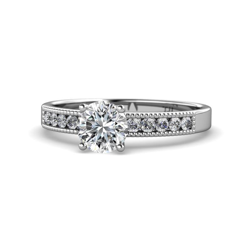 Ronia Classic Diamond Engagement Ring - Diamond Engagement Ring with Milgrain Work 1.30 Carat tw in 14K White Gold.