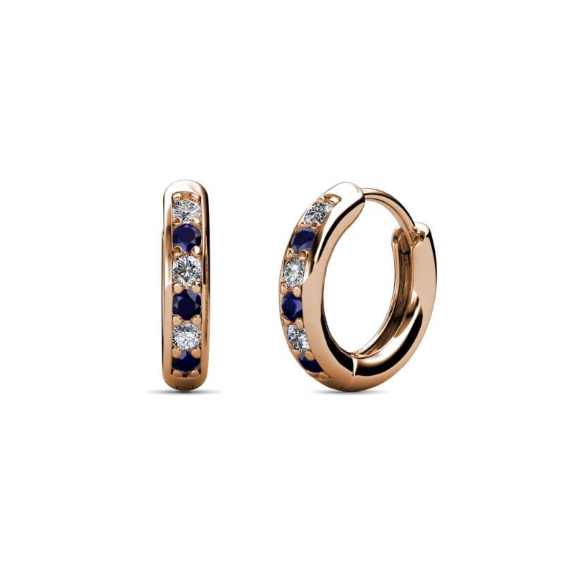 Cianna Petite Blue Sapphire and Diamond Hoop Earrings - Petite Blue Sapphire and Diamond (SI2-I1, G-H) Huggies Hoop Earrings 0.25 Carat tw in 14K Rose Gold.