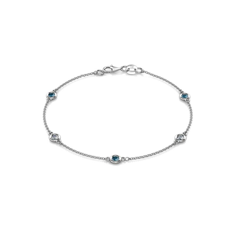 Aizza (5 Stn/3mm) Petite Blue and White Diamond on Cable Bracelet - 5 Station Petite Blue and White Diamond (SI2-I1, G-H) on Cable Bracelet 0.50 cttw in 14K White Gold.
