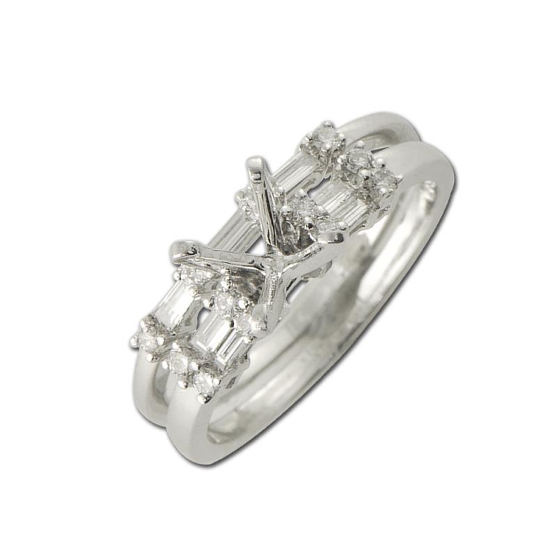 Diamond Semi Mount Bridal Set Ring  - Diamond Four Prong Semi Mount Engagement Ring & Wedding Band 0.50 Carat tw in 14K White Gold.