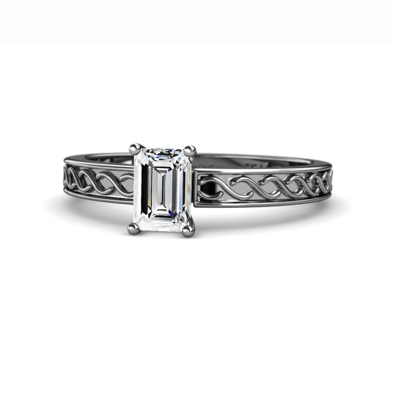Maren Retro Diamond Infinity Solitaire Engagement Ring - 7x5 mm Emerald Cut Diamond Infinity Solitaire Engagement Ring (SI1-SI2, G-H) 1.00 Carat in 14K White Gold.