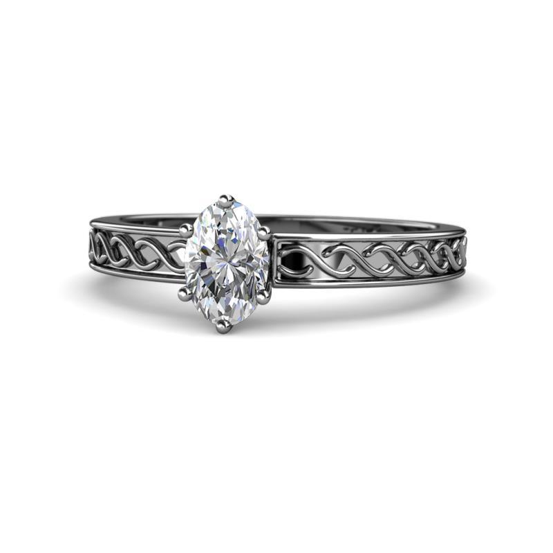 Maren Retro Diamond Infinity Solitaire Engagement Ring  - 7x5 mm Oval Diamond Infinity Solitaire Engagement Ring (SI2-I1, G-H) 1.00 Carat in 14K White Gold.