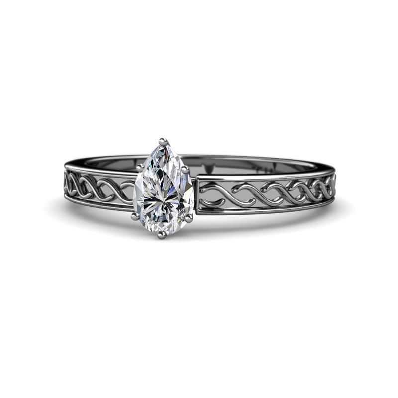 Maren Retro Diamond Infinity Solitaire Engagement Ring - 7x5 mm Pear Diamond Infinity Solitaire Engagement Ring (SI2-I1, G-H) 0.75 Carat in 14K White Gold.