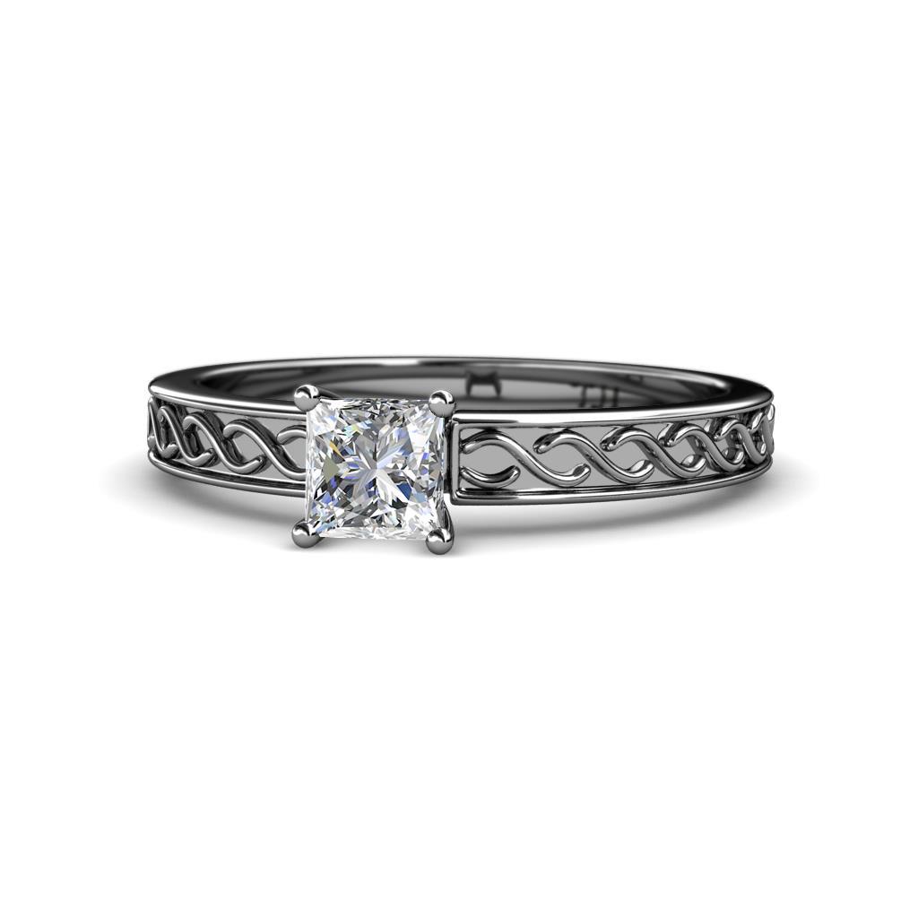 Maren Retro Diamond Infinity Solitaire Engagement Ring - Diamond Infinity Solitaire Engagement Ring with Milgrain Work (SI1, G) 1.00 Carat in Palladium.