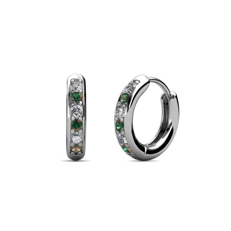 Cianna Petite Diamond and Lab Created Alexandrite Hoop Earrings - Petite Diamond (SI2-I1, G-H) and Lab Created Alexandrite Huggies Hoop Earrings 0.25 Carat tw in 14K White Gold.