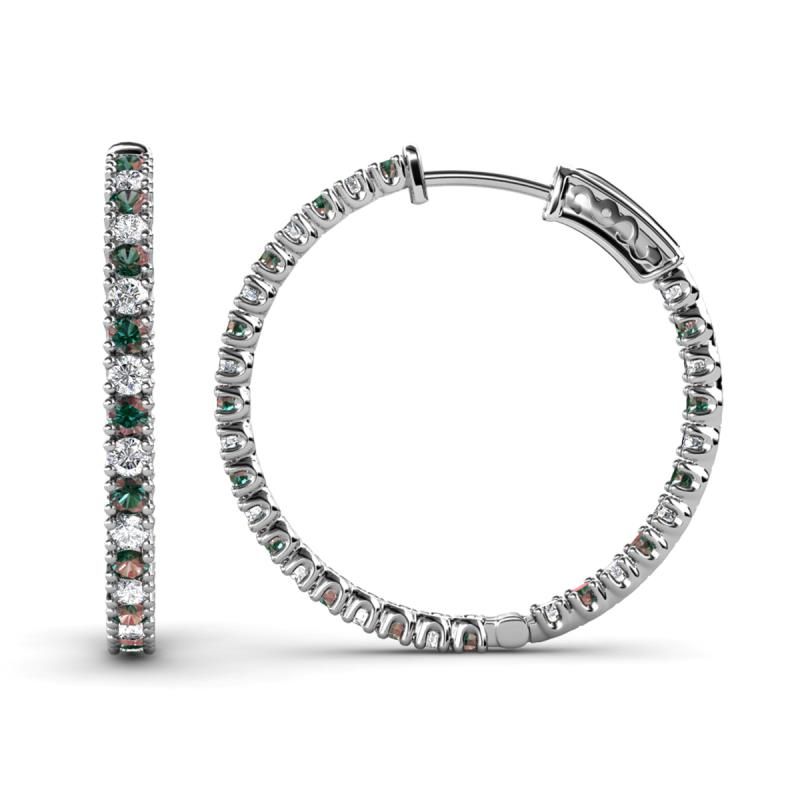 Melissa Diamond and Lab Created Alexandrite Hoop Earrings - Diamond and Lab Created Alexandrite Inside-Out Hoop Earrings 2.00 Carat tw in 14K White Gold.