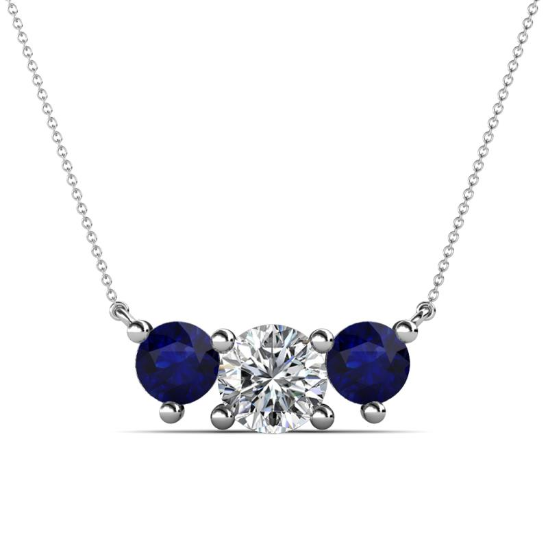 Raia Blue Sapphire and Diamond Three Stone Pendant - Blue Sapphire and Diamond (SI2, G) Three Stone Pendant 2.05 Carat tw in 14K White Gold.Included 16 Inches 14K White Gold Chain.
