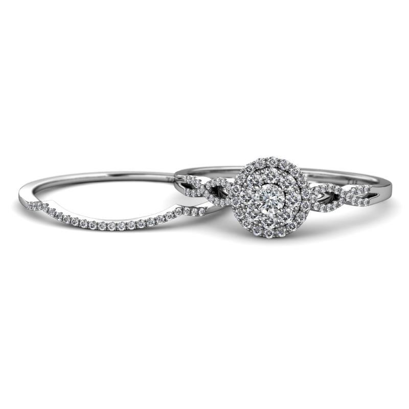Iliana Prima Diamond Halo Bridal Set Ring - Diamond Infinity Womens Double Halo Engagement Ring & Matching Diamond Band 0.81 ctw 14K White Gold