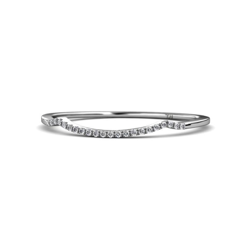 Iliana Prima Diamond Wedding Band - Diamond Curved Womens Wedding Band Stackable 14K White Gold