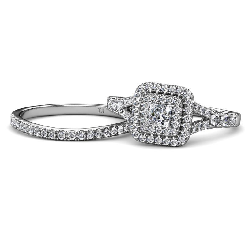 Zinnia Prima Princess Cut Diamond Halo Bridal Set Ring - Princess Cut (4.5 mm) Diamond Split Shank Womens Double Halo Engagement Ring & Wedding Band 1.49 ctw 14K White Gold