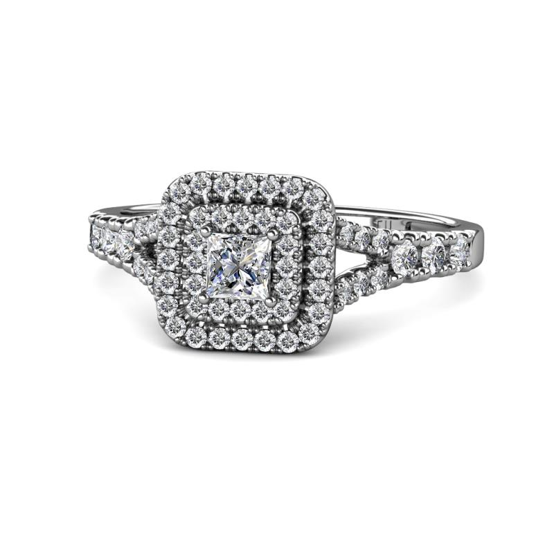 Zinnia Prima Diamond Double Halo Engagement Ring - Diamond Split Shank Double Halo Engagement Ring 1.36 Carat tw in 14K White Gold.