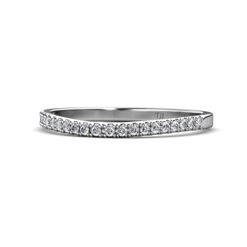 Zinnia Prima Diamond Wedding Band - Diamond Curved Wedding Band 0.14 Carat tw in 14K White Gold.