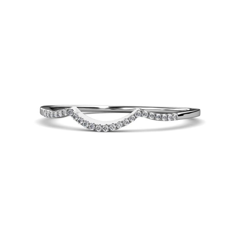 Yesenia Prima Diamond Wedding Band - Diamond Curved Wedding Band 0.12 Carat tw in 14K White Gold.
