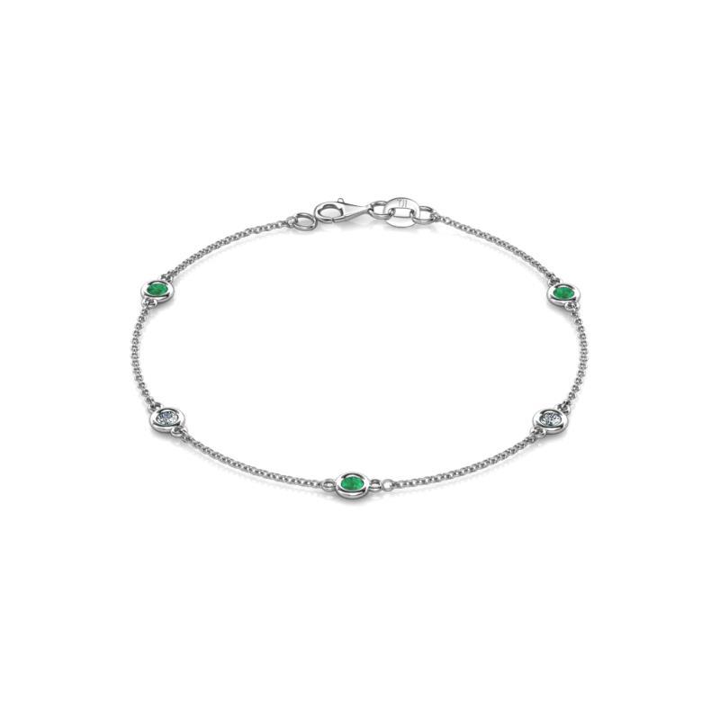 Aizza (5 Stn/3.4mm) Petite Emerald and Diamond Station Bracelet - 5 Stone Petite Emerald Diamond Station Bracelet 0.72 Carat tw in 14K White Gold.