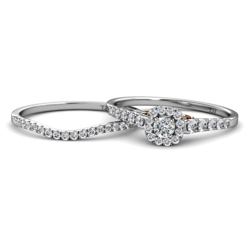 Florence Prima Diamond Halo Bridal Set Ring - Diamond Halo Engagement Ring & Wedding Band 18K White Gold.