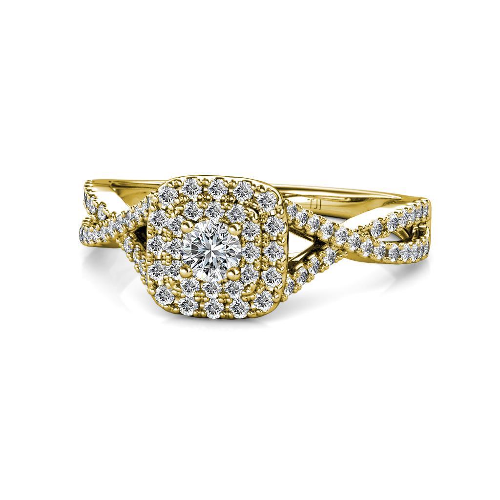 Maisie Prima Diamond Halo Engagement Ring - Round Diamond Infinity Women Double Halo Engagement Ring 14K Yellow Gold.