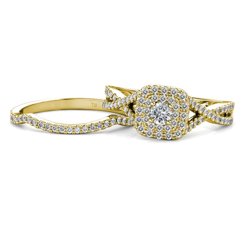 Maisie Prima Diamond Halo Bridal Set Ring - Diamond Women Infinity Halo Engagement Ring & Wedding Band 14K Yellow Gold.