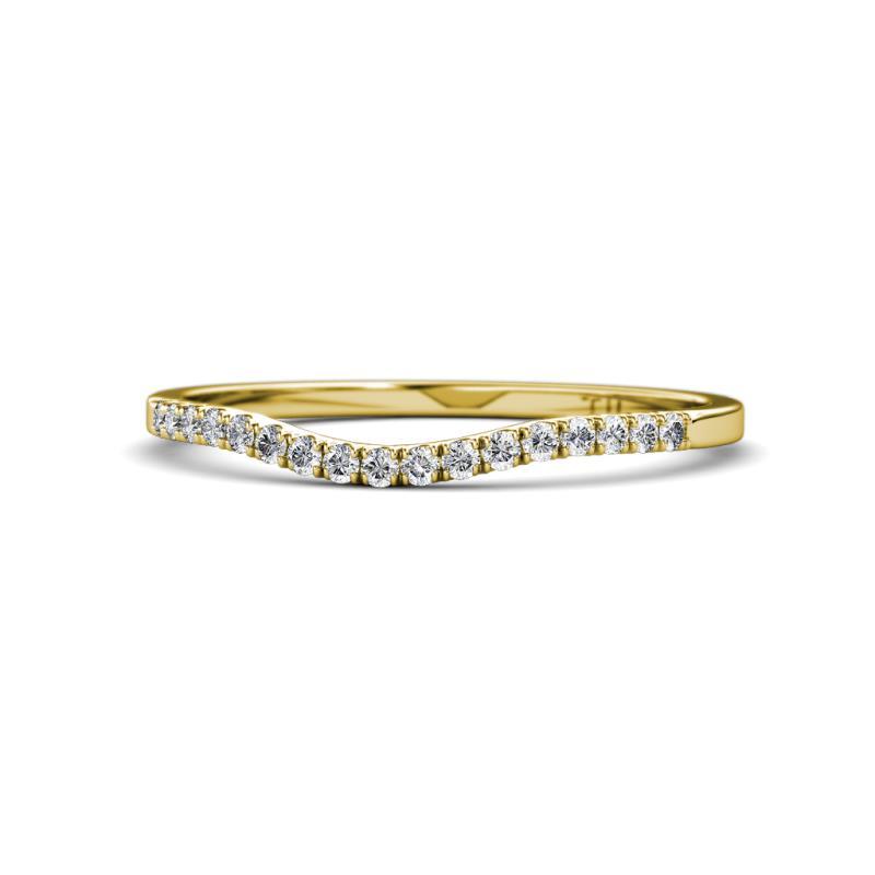 Florence Prima Diamond Wedding Band - Round Diamond Women Curved Matching Wedding Band Ring 14K Yellow Gold.