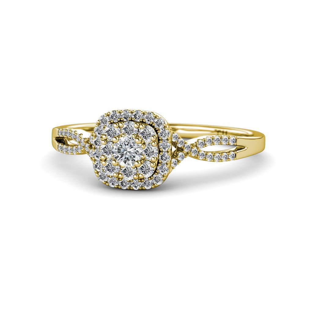 Yesenia Prima Diamond Halo Engagement Ring - Round Diamond Women Split Shank Double Halo Engagement Ring 14K Yellow Gold.